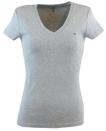 tommy hilfiger womens v neck solid color logo t shirt at. Black Bedroom Furniture Sets. Home Design Ideas