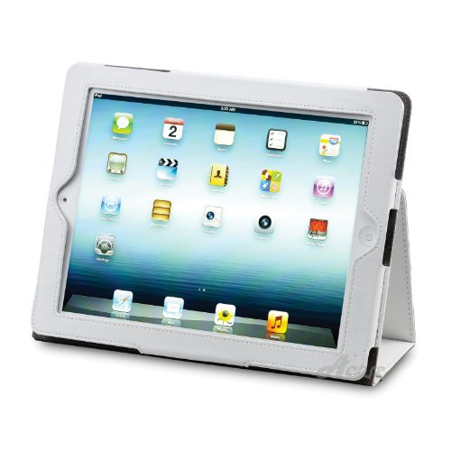 Acase PU レザーケース for new iPad ホワイト (スタンド機能・ペンホルダー付) 第3世代 2012年発売モデル専用