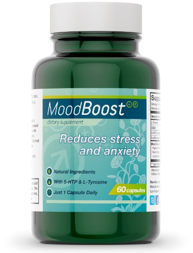 Mood Boost Natural Stress and Anxiety Relief (60 Vegetarian Capsules with 5-HTP, Passion Flower, L-Tyrosine and L-Theanine)