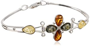 Certified Genuine Baltic Multicolor Amber and Silver 925. Flower Bangle, 7.5