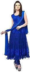 Janasya Women's Blue Brasso Unstiched Dress Material (DR-012-Blue)