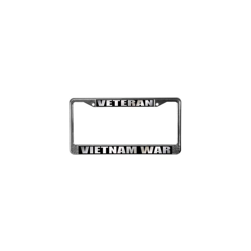 Vietnam Veteran Metal Military License Plate Frame Tag Holder