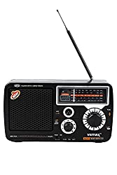 Vemax Micra 5-Band (FM/AM/MW/TV1/TV2) USB Portable Radio With Remote & Charger (Black)