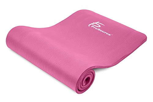 Prosource Premium 1/2-Inch Extra Thick 71-Inch Long High Density Exercise Yoga Mat with Comfort Foam and Carrying Straps, Pink, Frustration-Free Packaging (Thick Yoga Mat 1 Inch compare prices)