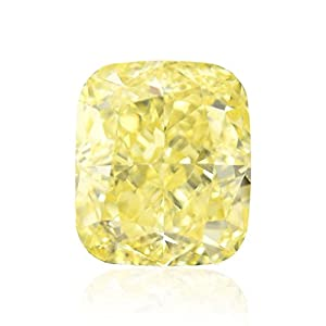 1.02 Carat Fancy Intense Yellow Loose Diamond Natural Color Cushion Cut GIA