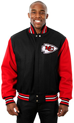 City Chiefs Men's Wool Jacket with Embroidered Applique Team Logos (2X)