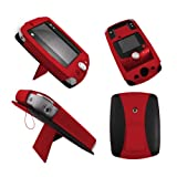Red Leather Wallet Case for LeapFrog LeapPad 2 II Explorer - Flip Tablet Pouch Cover with Stand + 2 Membrane Screen Protectors