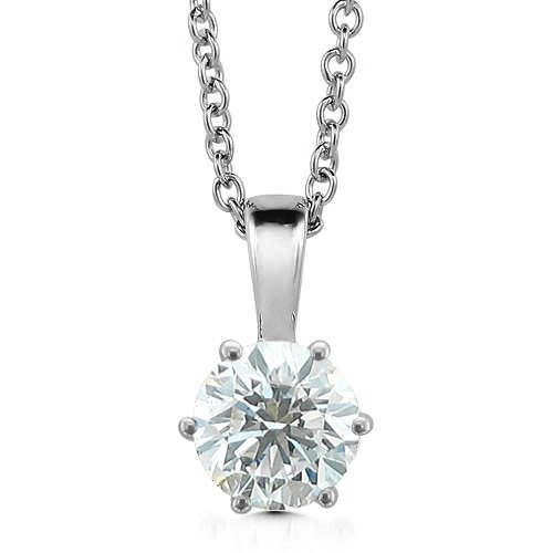 14k White Gold 6-Prong Solitaire Natural Diamond