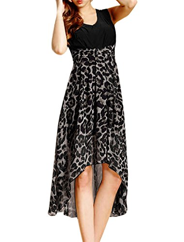 Ladies V Neck Pullover Sleeveless Leopard Prints Low High Dress