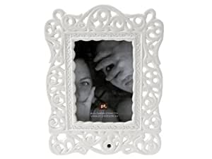 Present Time Photo Frame Eleganza Baroque Ceramic White, 3-1/2 by 5-Inch
