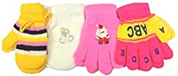 Set of Four Pairs Magic Mittens Gloves for Infants Ages 6 Mo to 4 Years