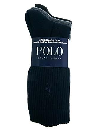 Polo Ralph Lauren 3-Pack Crew Pony Player Socks, Navy/Grey/Black