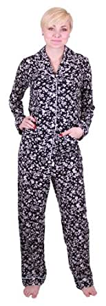 Ann Klein 2-pc Pajama Set (Medium, Black Floral)