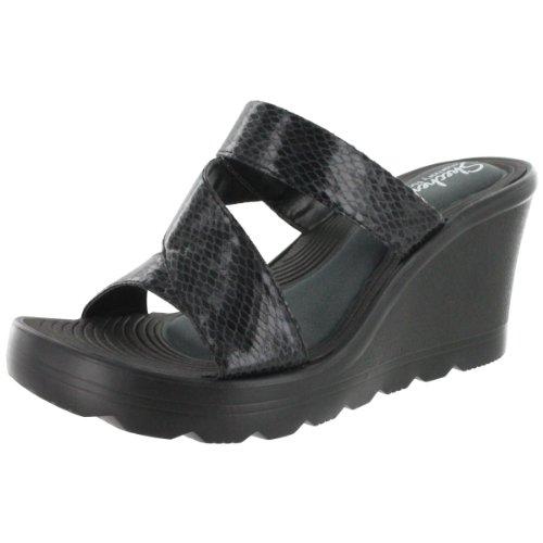 Skechers Women'S Playground Tic Tack Toe Wedge Slide Sandal Black 8 M Us front-456522