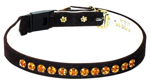 Pet Supply Imports – Brown w/Amver Stones Velveteen Jeweled Break Away Cat Collars Siz 14