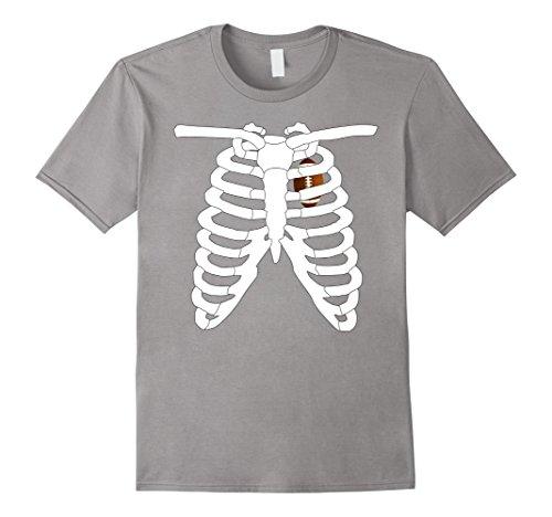 [Men's Halloween Skeleton Rib Cage Xray Love Football Costume Funny 3XL Slate] (Male Football Player Costume)