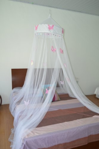 Butterfly Bed Canopy Mosquito Net for All Size Bed, Room Decoration, Party Events (White)