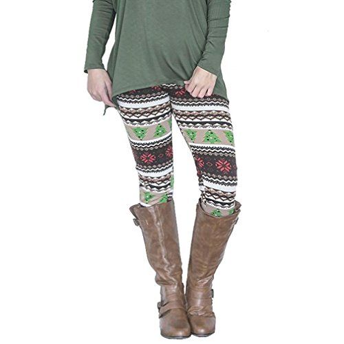 Slim Leggings,Morecome Casual Women Skinny Christmas Tree Print Stretchy Pants (XL, Multicolor1)