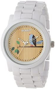 Sprout Unisex ST/5048TNWT Wood Dial White Corn Resin Bracelet Bird Theme Dial Watch by Sprout