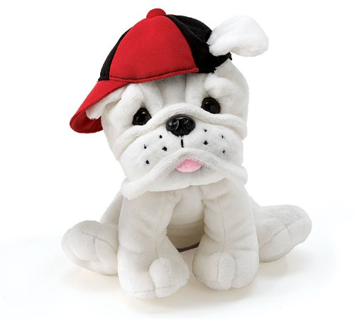 Plush Bulldog Pup With Baseball Cap Adorable Stuffed Dog