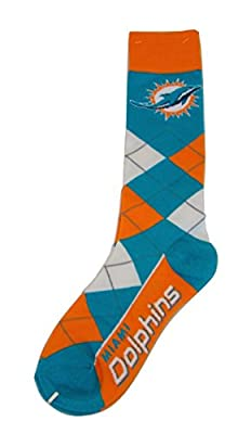 NFL Miami Dolphins Argyle Unisex Crew Cut Socks - One Size Fits Most