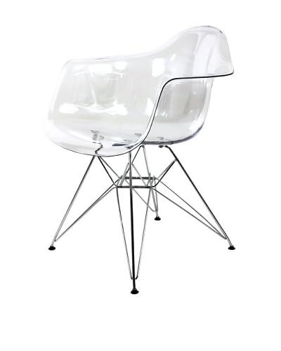 Control Brand Mid-Century-Inspired X-Leg Arm Chair, Clear