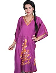 Exotic India Bright-Purple Kashmiri Short Kaftan With Ari Embroidered F - Purple