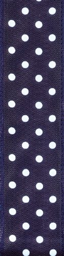 Offray Wired Edge Polka Dots Craft Ribbon, 1-1/2-Inch Wide by 10-Yard Spool, Navy