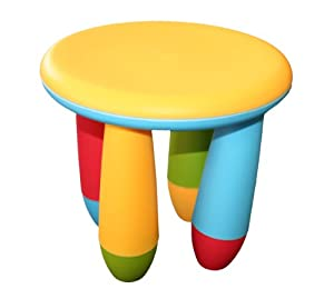 CHILDRENS KIDS PLASTIC MULTI COLOURED ROUND STOOL