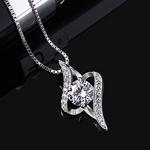997c3386b B.Catcher Jewelry for Women Twist Pendant Necklace 925 Sterling Silver  Cubic Zirconia with 45 cm Chain
