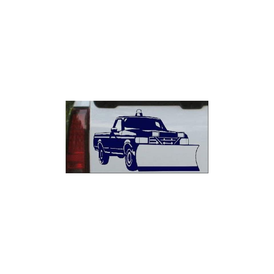 Snow Plow Truck Business Car Window Wall Laptop Decal Sticker    Navy 14in X 8.2in