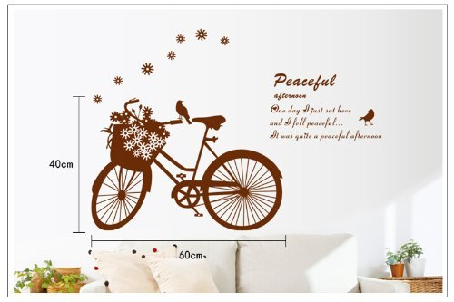 Good Life Peaceful Quote Bike With Flowers And Birds Removable Diy Wall Decal Decor Sticker front-225114