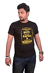College Jugaad Black Printed Cotton T-shirt for Men