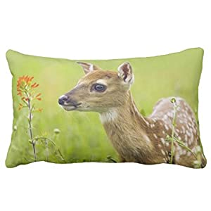 Zp Shine A Deer Stand On The Lawn Silently Looked Away Green Decorative Home Pillowcase Cover Cushion Cover 20X36 inch from Zp Shine