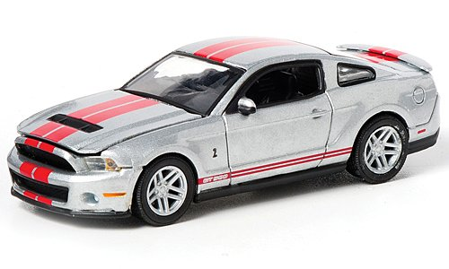 Greenlight GLMuscle Ford Shelby GT 500, silver with red stripes , 2012, Model Car, Ready-made 1:64