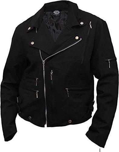 Spiral-Giacca Biker, Wolf Chi, a righe, colore: nero Black XXL
