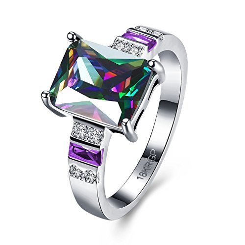 FENDINA White Gold Ring 18K Rainbow Square Cut Mystic Opal Jewelry Ring Wedding Engagement Ring White Opal (6)