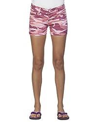 Ixia Women's 100% Cotton Lycra Pink Chemo Printed Shorts(LISR174PINK_32)
