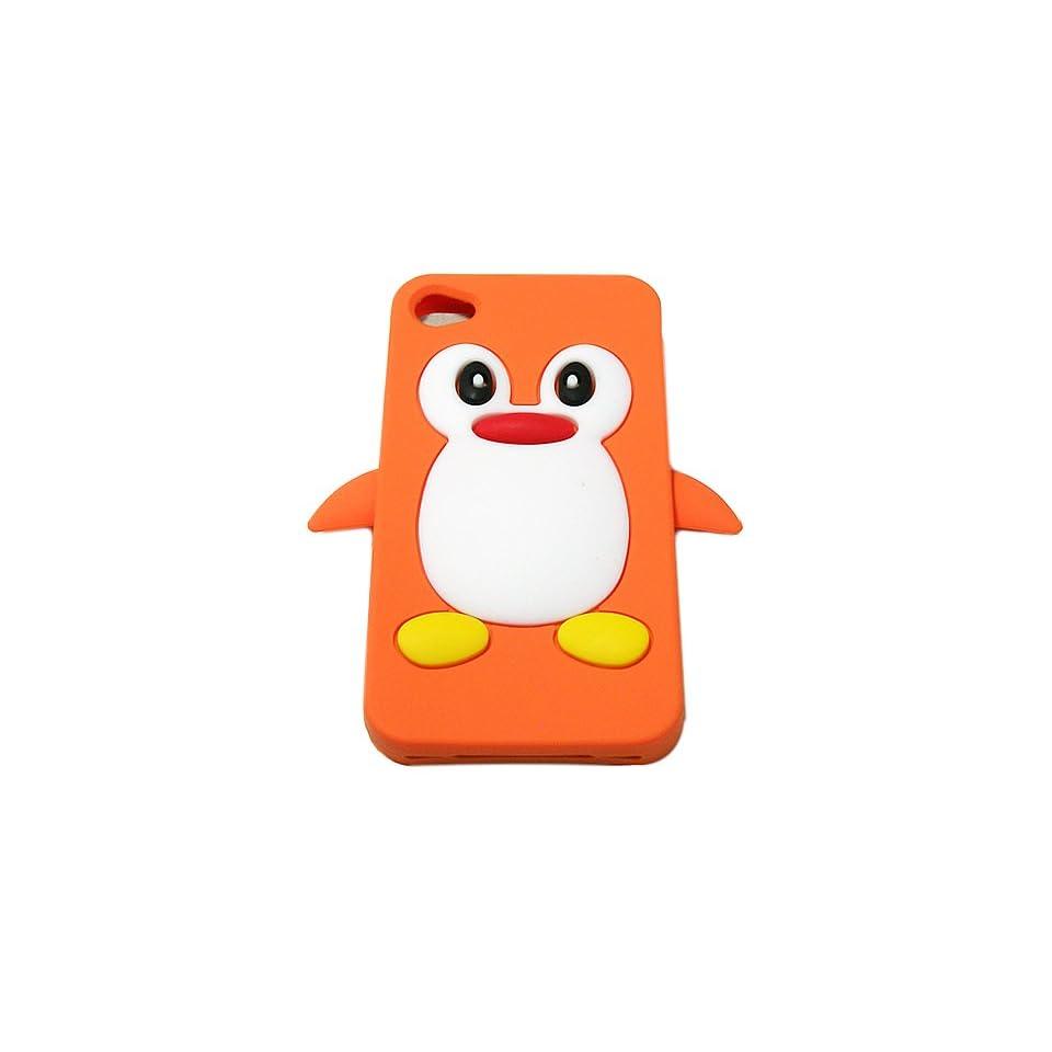 Orange Cute Penguins Style Design Soft Silicone Skin Gel Cover Case for Verizon At&t Sprint Apple Iphone 4 4s + Microfiber Bag
