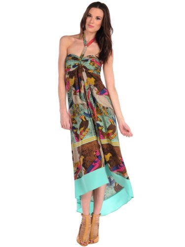 Twelfth Street By Cynthia Vincent Womens Parrot Scarf Halter Dress - PARS-Multi - Petite