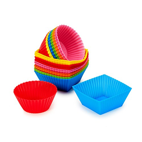 #1 Non Stick Square & Round Silicone Cupcake Cups 24 Pack - Rainbow Bright Standard Silicone Reusable Heat Resistant Baking Cups-Cupcake Molds/Liners-12 Square Molds & 12 Round Molds Total of 24