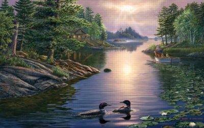 Picture of Sunsout At the Lake - 1000pc Jigsaw Puzzle by Sunsout (B001DVR2II) (Jigsaw Puzzles)