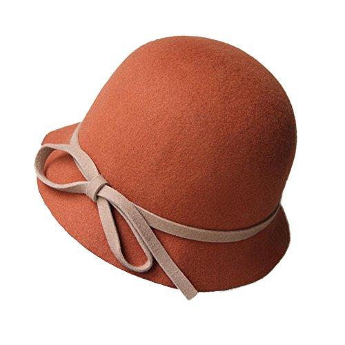 Feutre-Chapeau-Cloche-Fedora-Woolen-Billycock-Bowler-Cap-Hat-Vintage-Orange
