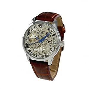 GENEVA PLATINUM 12292512 Men's Self Winding Skeleton Automatic Movement Faux Leather Watch-BROWN