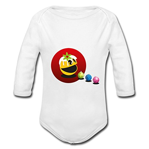 LARger pac-man Baby Powder Organic Long Sleeve One Piece White 6 months