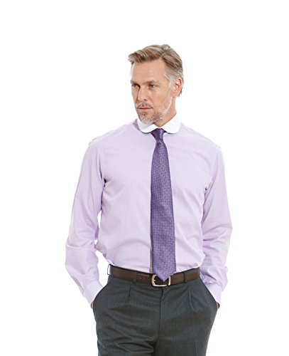 Savile Row Men's Lilac Fine Stripe White Collar Slim Fit Shirt savile row men s blue red check short sleeve slim fit casual shirt