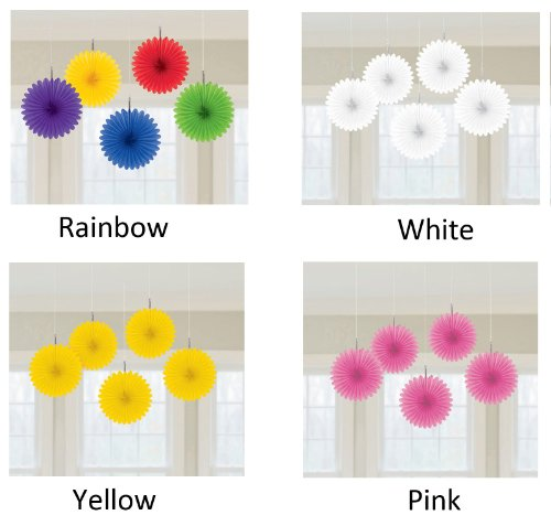 "Amscan Radiant Rainbow Mini Hanging Fan, 6"", Multicolor - 1"