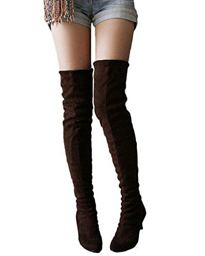 Minetom Donna Inverno Overknee Stivali Scamosciato Scarpe Scarpe a punta Lungo Stivali Moda Coscia Alto Stivali Marrone EU 39