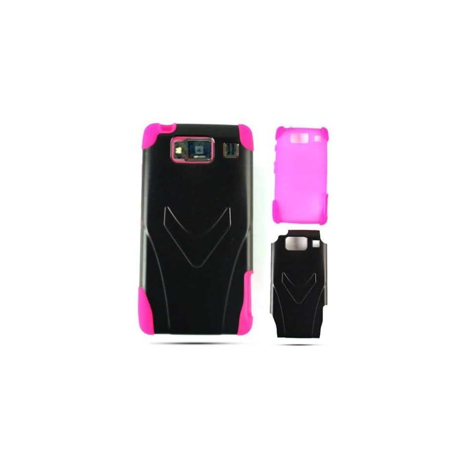 Motorola Droid RAZR HD XT926 Pc Jelly Hot Pink Black Case Cover Faceplate Hard
