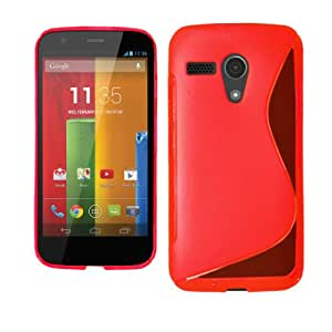 WOW S Line Soft Silicon Gel Back Cover Case For Motorola Moto G - Red